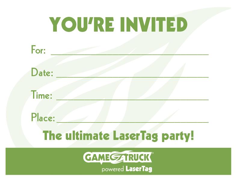 image regarding Printable Laser Tag Birthday Invitations referred to as Tailor made Printable Invites GameTruck